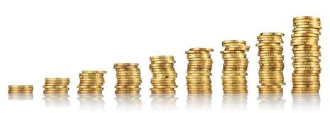 Pile di monete di oro Fotografia Stock Libera da Diritti