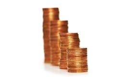 Pile di monete isolate fotografia stock libera da diritti