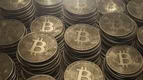 Pile di monete di oro, valuta cripto, bitcoin Immagine Stock