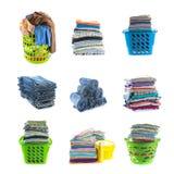 Pile di raccolta dell'abbigliamento Fotografia Stock