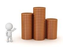 pile di rappresentazione del carattere 3D di monete di Brone Immagine Stock Libera da Diritti