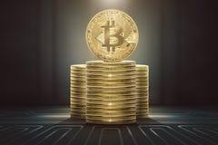 Pile di stare dei bitcoins Fotografia Stock Libera da Diritti