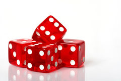Pile of Dice. Stack of red and white dice on a white background royalty free stock photos