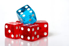 Pile of dice. Stack of red and blue dice on a white background stock images