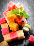 Pile of diced and cubed fresh summer fruit Royalty Free Stock Images