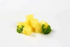 Pile of diced potato. Pile of diced raw potato on white background Stock Photo