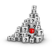 Pile of dices with question marks Royalty Free Stock Images