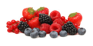 Pile of different berries (isolated) Stock Images