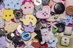 Pile of different buttons Stock Photos