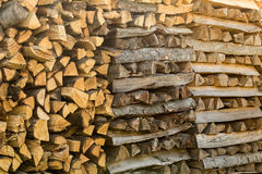 Pile of different chopped firewood prepared for wi Stock Photo