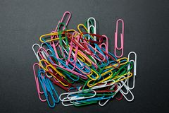 Pile of different color paper clip Stock Photos