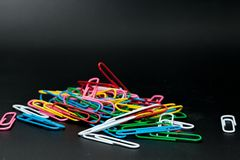 Pile of different color paper clip Stock Photo
