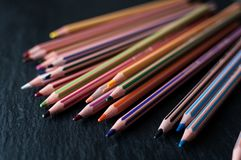 A pile of coloring pencils stock images