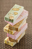 Pile of different flavored nougat Stock Images