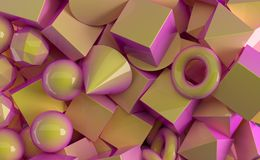 Pile Of Different Geometric Figures With Soft Gradient Colors Cl. Oseup. 3D Rendering Illustration Royalty Free Stock Photo
