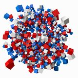 Pile of different sized cubes. 3d style vector illustration. Suitable for any banner, ad, technology and abstract themes Royalty Free Stock Photos
