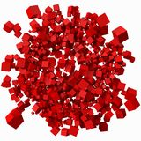 Pile of different sized redcubes. 3d style vector illustration. Pile of different sized red cubes. 3d style vector illustration. suitable for any banner, ad Stock Photo