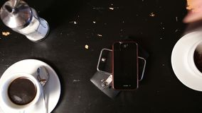 Pile of different smart phones on the table Royalty Free Stock Images