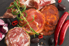 A pile of different spanish embutido, jamon, chorizo and lomo em Royalty Free Stock Image