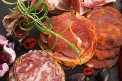 A pile of different spanish embutido, jamon, chorizo and lomo em Stock Image