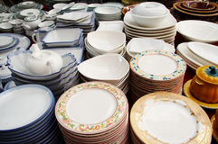 Pile of dinnerware Royalty Free Stock Images