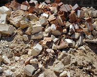 A pile of dirt and busted-up rubble Stock Photo