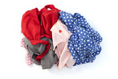 pile of dirty cloth laundry isolated on white background. Stock Image