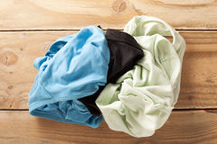 pile of dirty cloth on wood. Royalty Free Stock Photos
