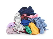 Pile of dirty clothes. On white background royalty free stock images