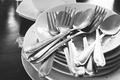 Pile of dirty dishes Royalty Free Stock Image