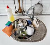 Pile of dirty dishes Stock Photos