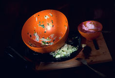 Pile of dirty dishes Stock Images