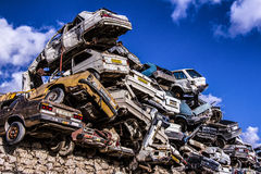 Pile of discarded old cars. On junkyard Royalty Free Stock Image