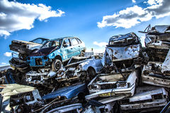 Pile of discarded old cars. On junkyard Royalty Free Stock Photography