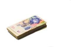 Pile dispersée des billets de banque empaquetés de couche-point sud-africain Photographie stock libre de droits