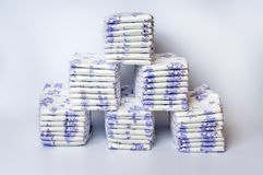 Pile of disposable diapers. Arranged in a pyramid Royalty Free Stock Images