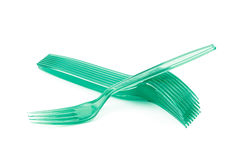 Pile of disposable forks isolated Royalty Free Stock Images