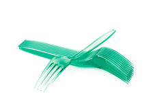 Pile of disposable forks isolated Stock Photography
