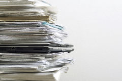 Pile of documents. And the laptop Stock Photography
