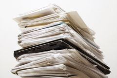 Pile of documents. And the laptop Royalty Free Stock Images