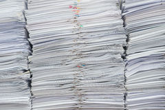 Pile of documents on desk. Stack up high stock photo