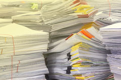 Pile of documents on desk stack Stock Image