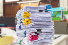 Pile of documents on desk Royalty Free Stock Photos
