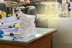 Pile of documents on desk Royalty Free Stock Image
