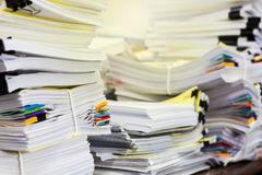 Pile of documents on desk Stock Photos