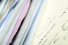 Pile of documents and letters. Hand script and blur effect Stock Images