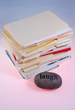 Pile of documents and stone Stock Photography