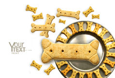 Pile of doggy biscuits with pewter dish on white. Background Royalty Free Stock Image