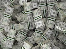 Pile of 100 dollar bill wads. Background of pile of 100 dollar bill wads Royalty Free Stock Photos