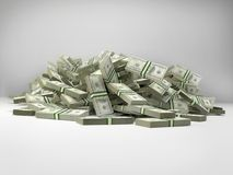 Pile of 100 dollar bill wads. On white Royalty Free Stock Images